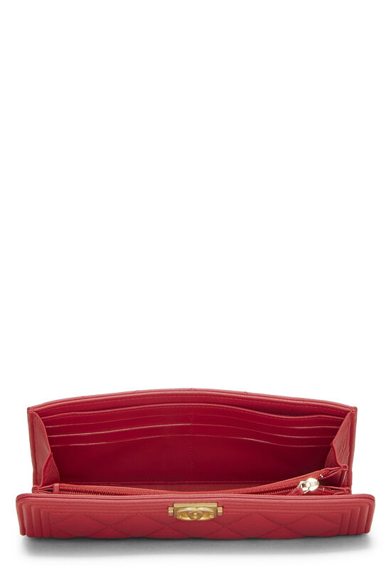 Red Quilted Lambskin Boy Wallet, , large image number 3