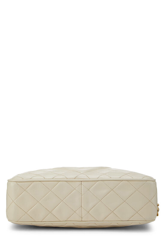 Cream Quilted Lambskin 'CC' Camera Bag Large, , large image number 5