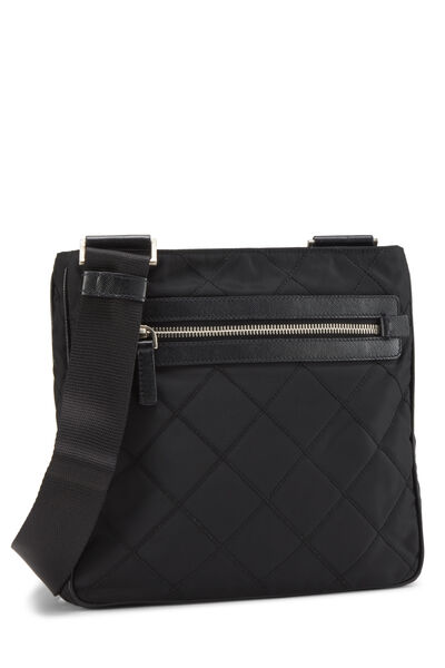Black Quilted Nylon Flat Crossbody Small, , large