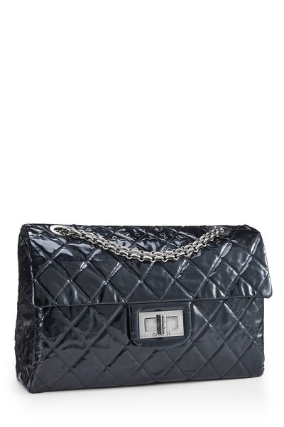 Black Quilted Patent Leather Reissue Flap Bag XL, , large