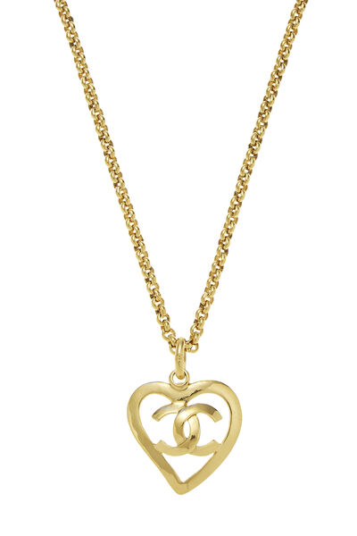 Gold 'CC' Open Heart Necklace, , large