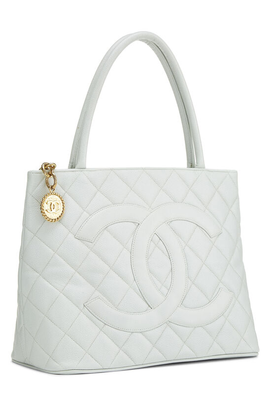 Blue Quilted Caviar Medallion Tote, , large image number 1