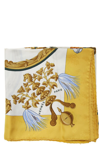 Yellow & Multicolor 'Plumes et Grelots' Silk Scarf 90, , large