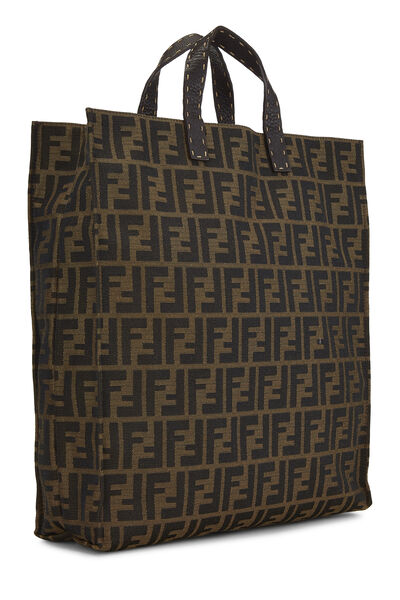 Brown Zucca Canvas Selleria Vertical Tote, , large