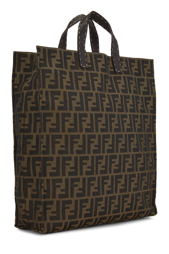 Brown Zucca Canvas Selleria Vertical Tote, , large image number 1