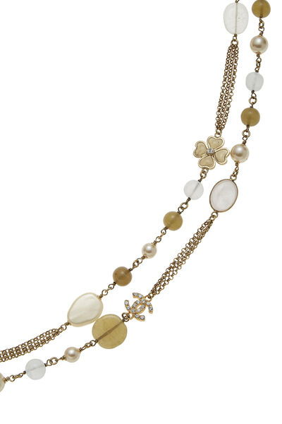 Gold & Faux Pearl Gripoix Necklace Long, , large