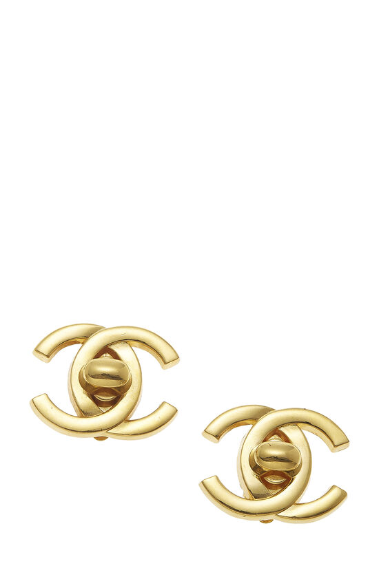 Gold 'CC' Turnlock Earrings Large, , large image number 0