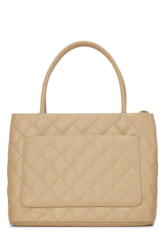 Beige Quilted Caviar Medallion Tote, , large image number 3
