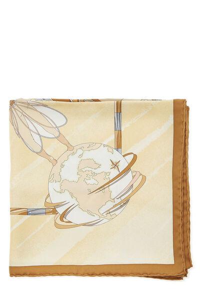 Beige & Multicolor 'Face Au Large' Silk Scarf 90, , large