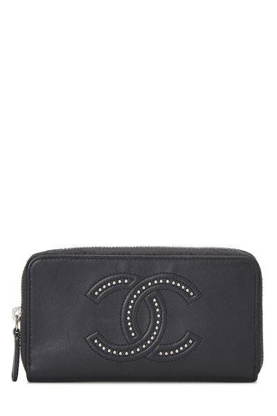 Black Calfskin Stud 'CC' Zip Wallet Small