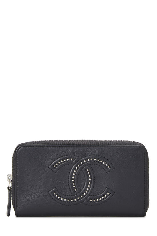 Black Calfskin Stud 'CC' Zip Wallet Small, , large image number 0