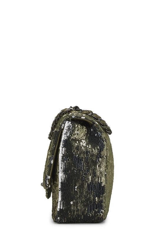 Paris-Cuba Olive Sequin Classic Flap Bag Medium, , large image number 2
