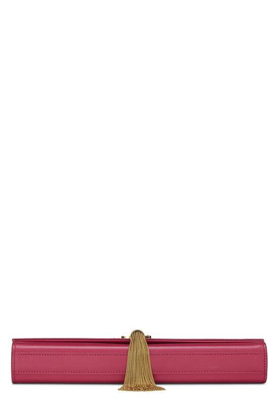 Pink Calfskin Tassel Cassandre Clutch, , large image number 4