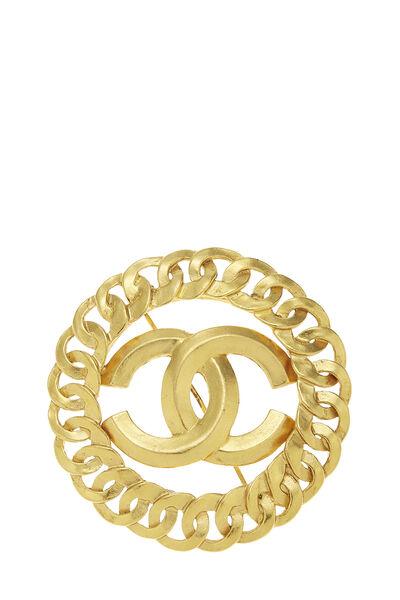 Gold 'CC' Chain Border Pin Large