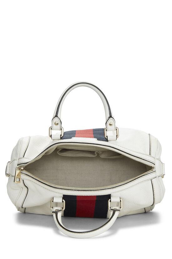White Leather Web Boston Bag, , large image number 6