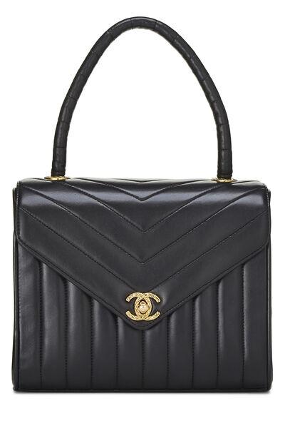 Black Chevron Lambskin Top Handle Bag Small