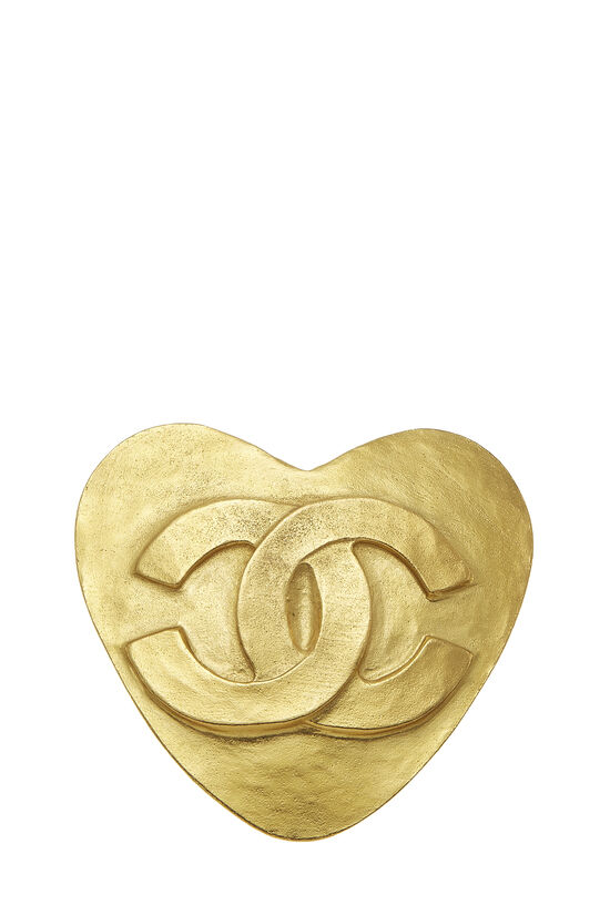 Gold 'CC' Heart Pin, , large image number 0