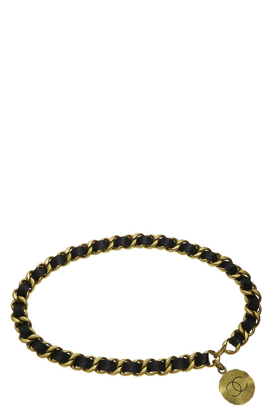 Gold & Black Leather Chain Belt, , large image number 0