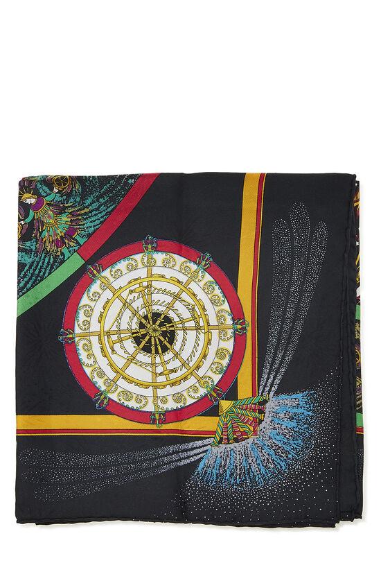 Black & Multicolor 'Feux d'Artifice' Silk Scarf 90, , large image number 1