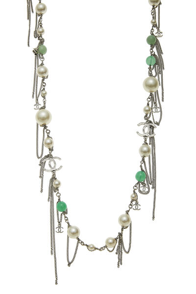 Green & Faux Pearl Long Necklace, , large