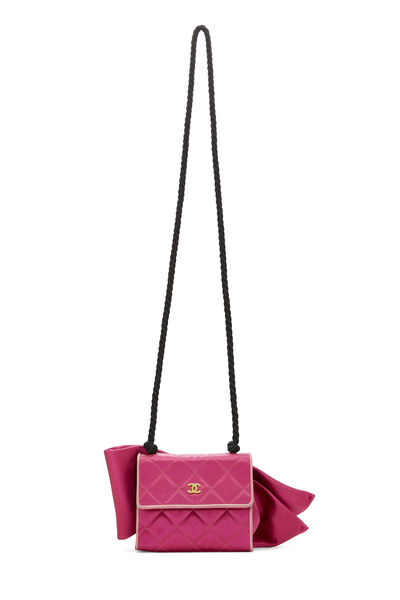 Pink Quilted Satin Bow Bag, , large