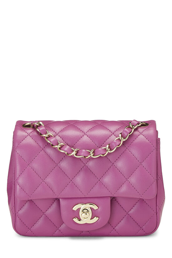 Purple Quilted Lambskin Classic Square Flap Mini, , large image number 0