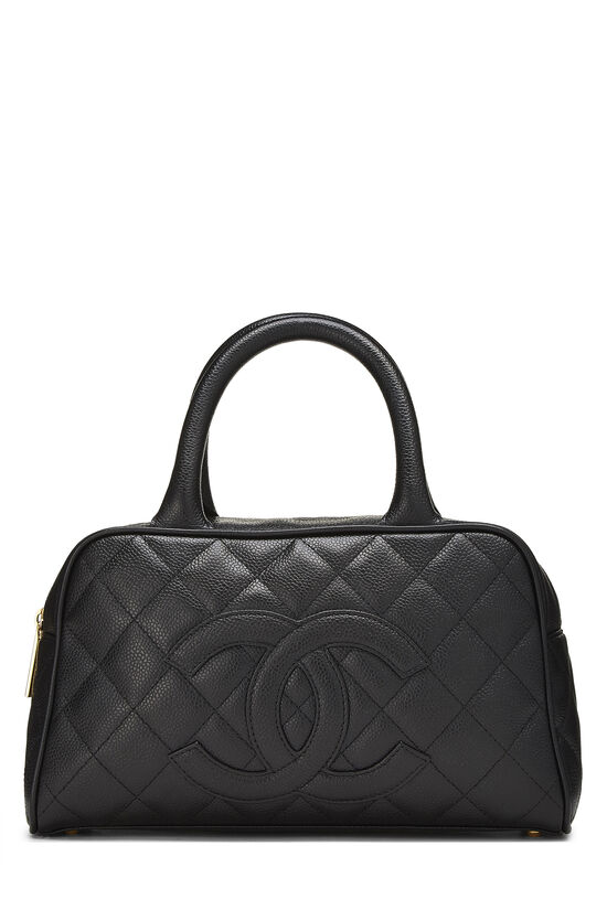Black Quilted Caviar Bowler Mini, , large image number 0