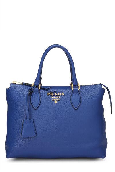 Blue Vitello Daino Handbag