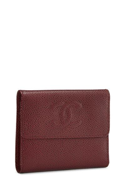 Burgundy Caviar CC Compact Wallet, , large