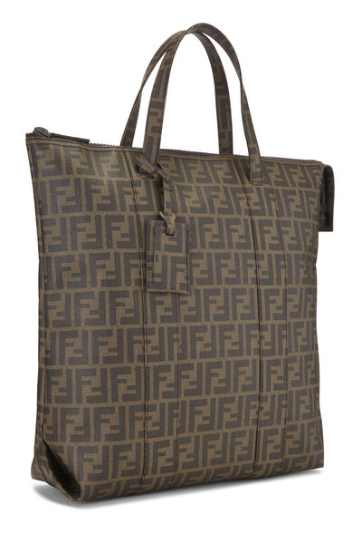 Brown Zucca Coated Canvas Vertical Tote Large, , large