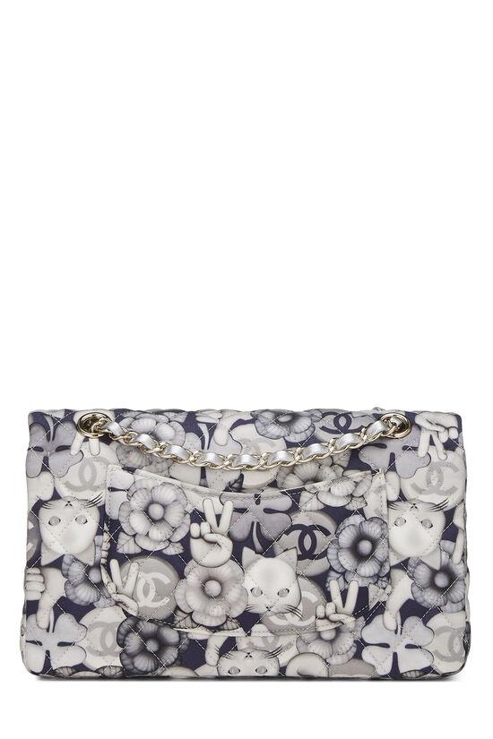 White & Grey Emoticon Nylon Classic Double Flap Medium, , large image number 3