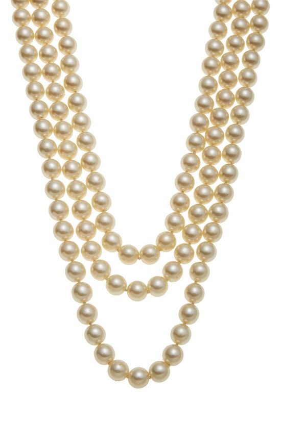 Gold & Faux Pearl Layered Long Necklace, , large image number 1