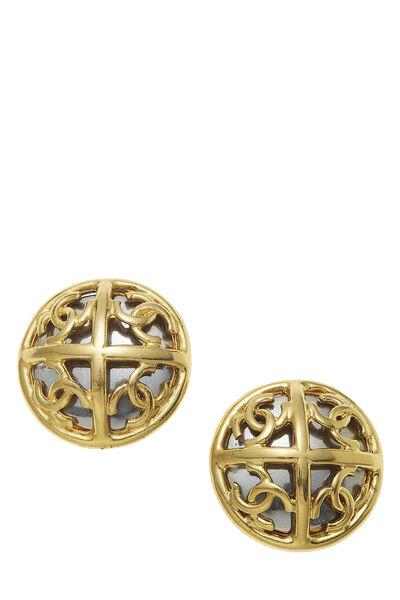 Gold & Silver 'CC' Cutout Earrings