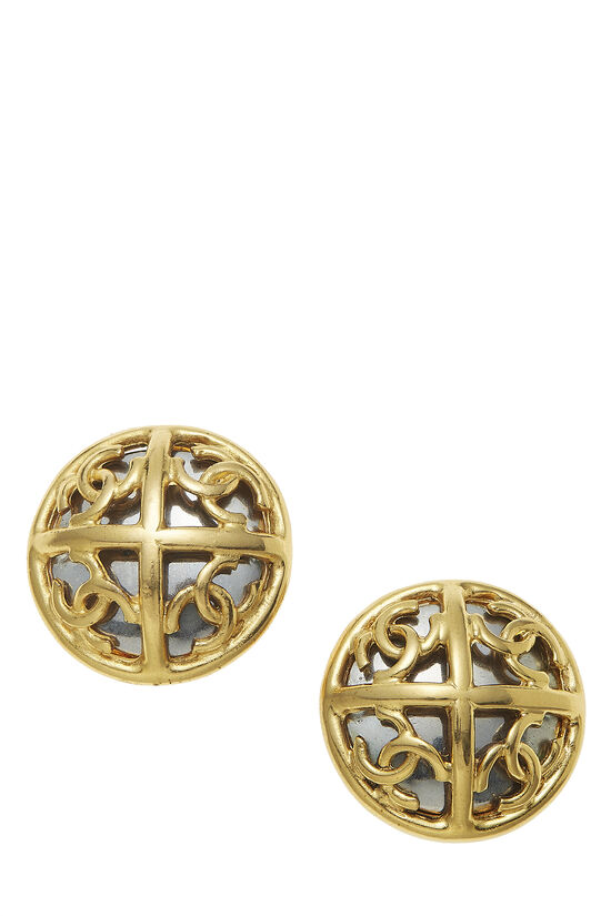 Gold & Silver 'CC' Cutout Earrings, , large image number 0