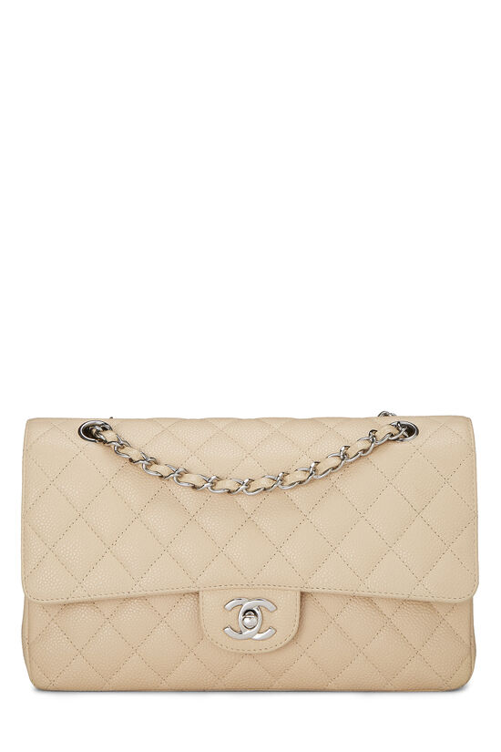 Beige Quilted Caviar Classic Double Flap Medium, , large image number 0