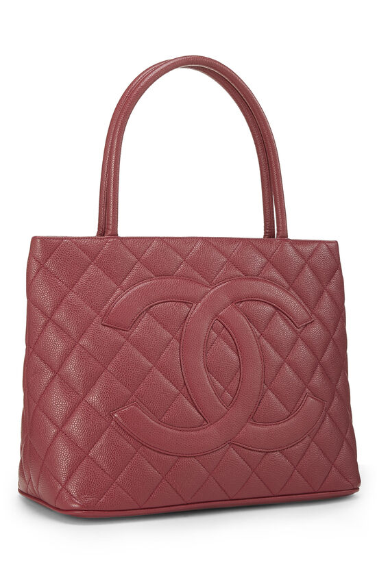 Magenta Quilted Caviar Medallion Tote, , large image number 1