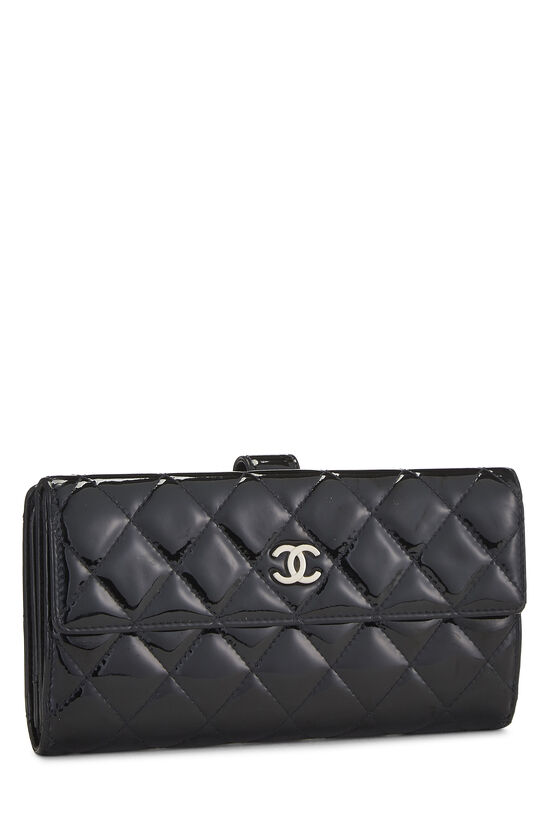Black Quilted Patent Leather Flap Wallet, , large image number 1