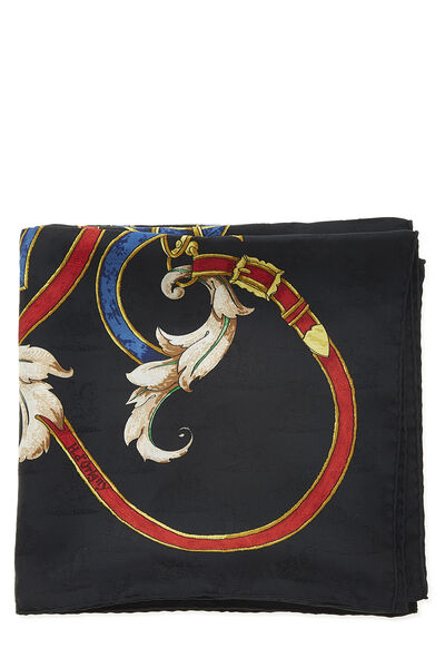 Black & Multicolor 'L'Instruction du Roy' Silk Scarf 90, , large