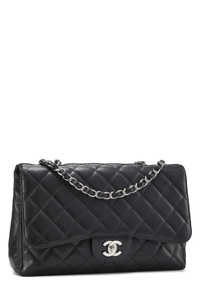 Black Quilted Caviar New Classic Flap Jumbo, , large