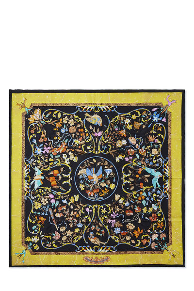 Black & Multicolor 'Pierres d'Orient et d'Occident' Silk Scarf 90