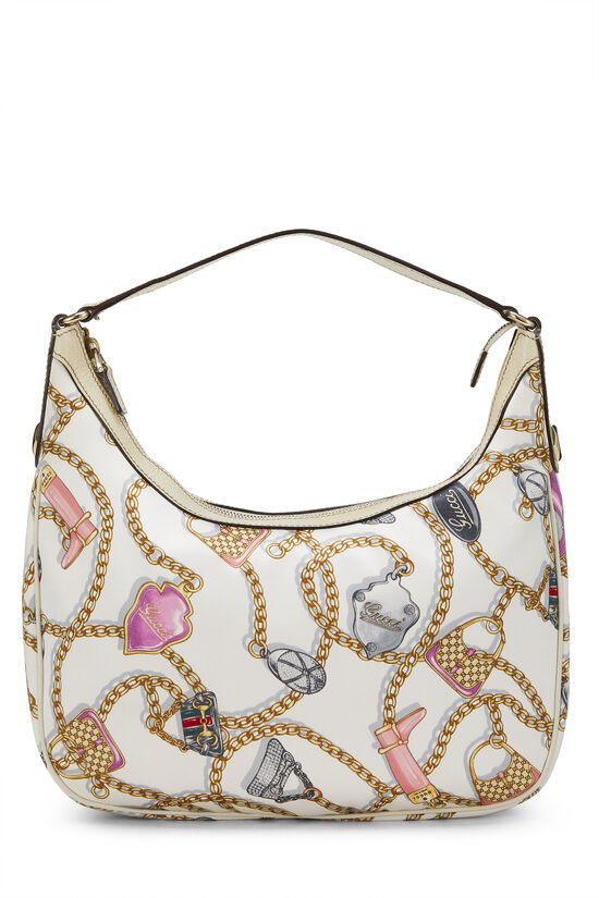 White & Multicolor Satin Charmy Hobo, , large image number 0