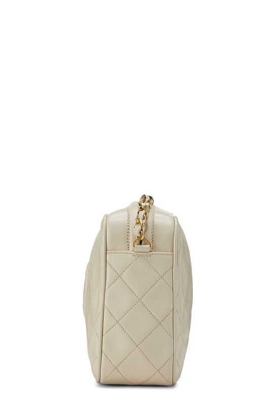 Cream Quilted Lambskin 'CC' Camera Bag Large, , large image number 3