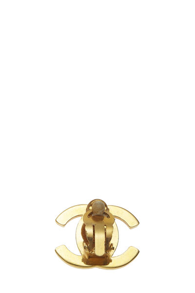 Gold & Crystal 'CC' Turnlock Earrings Large, , large