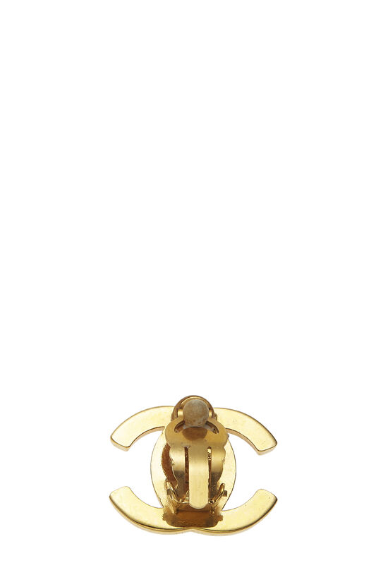 Gold & Crystal 'CC' Turnlock Earrings Large, , large image number 1