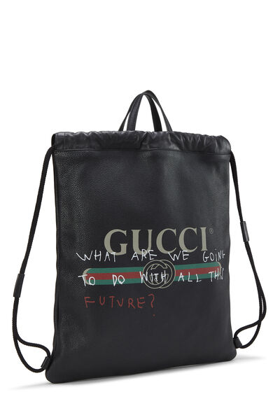 Coco Capitán x Gucci Black Leather Logo Drawstring Backpack, , large