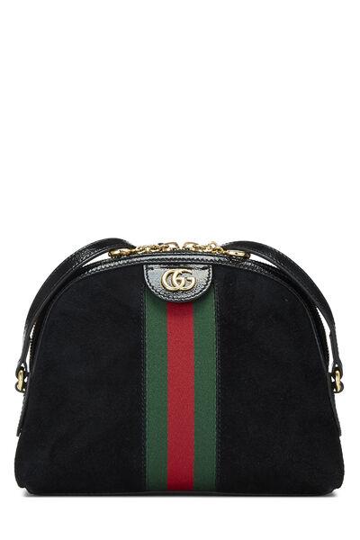 Black Suede Ophidia Shoulder Bag Small