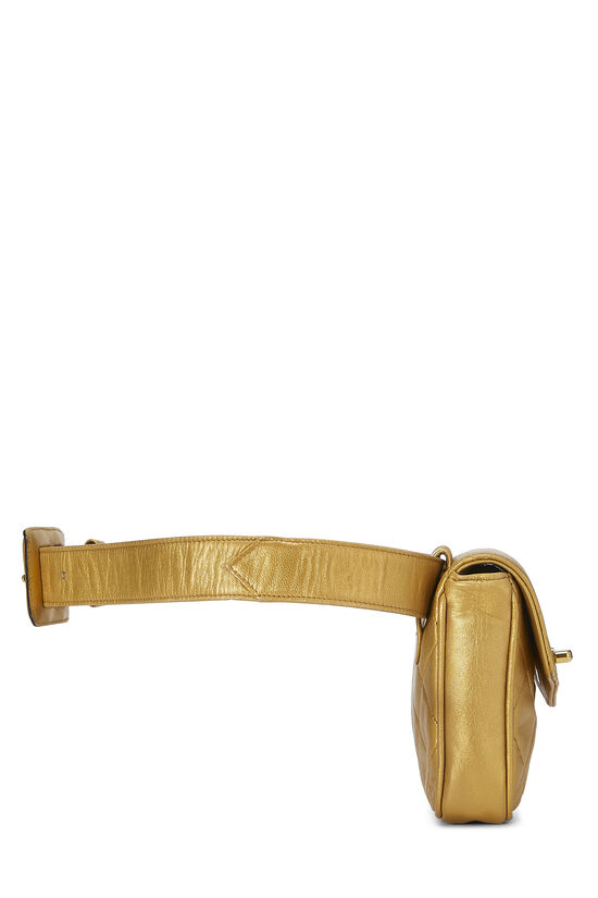 Gold Quilted Lambskin Envelope Belt Bag, , large image number 2