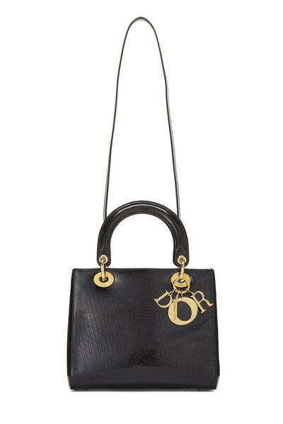 Black Logo Embossed Patent Leather Lady Dior Medium, , large