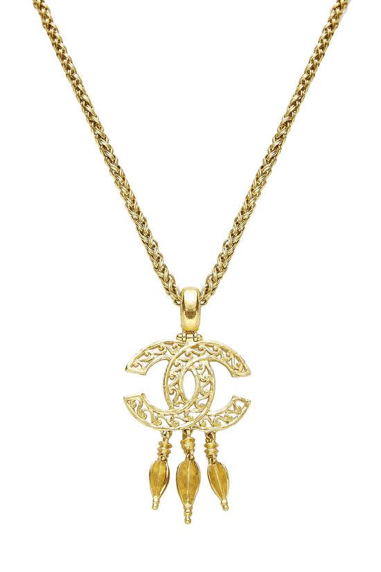 Gold 'CC' Fretwork Dangle Necklace, , large image number 1