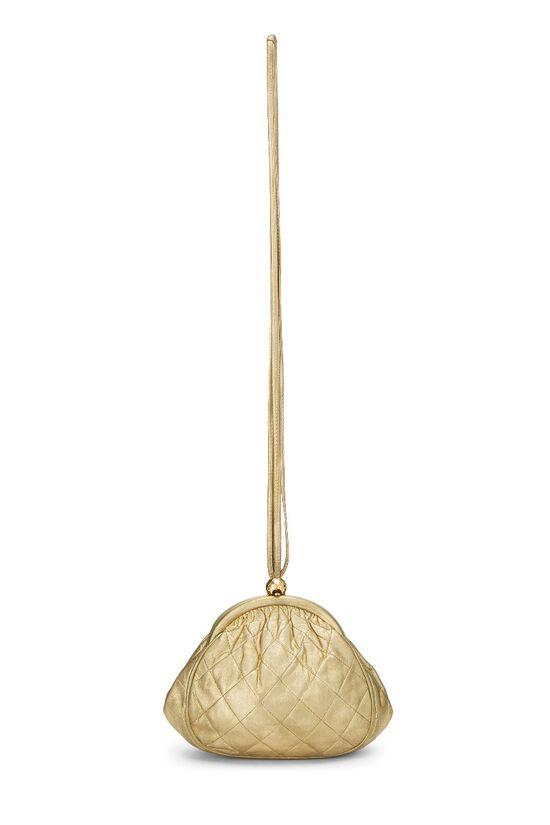 Metallic Gold Quilted Lambskin Shoulder Bag Mini, , large image number 6